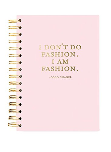 GraphiqueI Am Fashion Hard Bound Journal w/Coco Chanel Quote, Gold Foil on Soft Pink Cover, Durable Notebook, 160 Ruled Pages, 6.25 x 8.25 x 1