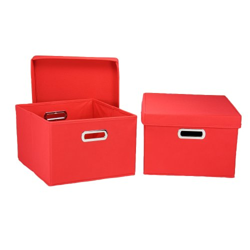Household Essentials Fabric Storage Boxes with Lids and H...