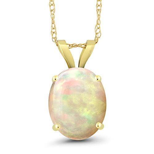 Gem Stone King 1.27 Ct Oval White Opal 14K Yellow Gold Pendant With Chain ()