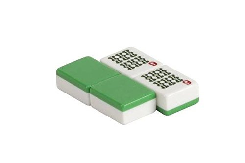 CHH 166 Piece Green And White Mahjong Tiles with Multicolor Design