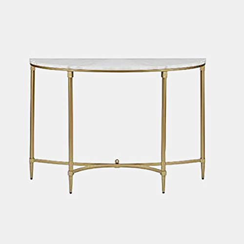 (Metal Console Table with Marble Top - Demilune Console Table with Gloss Finish - Gold )