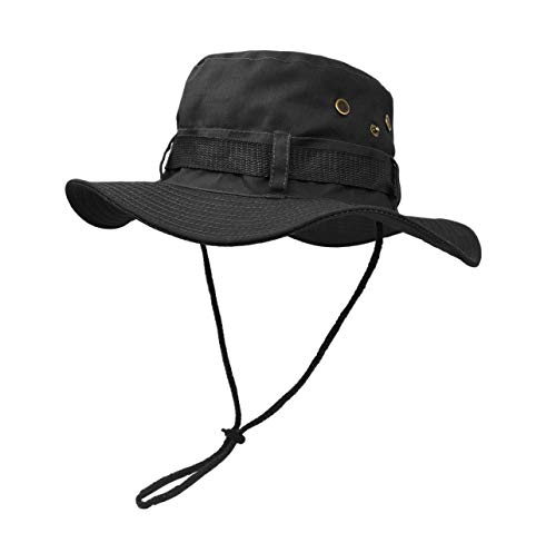 Black Jungle Hat - Outdoor Wide Brim Sun Protect Hat, Double Layer Classic US Combat Army Style Bush Jungle Sun Cap for Fishing Hunting Camping Black