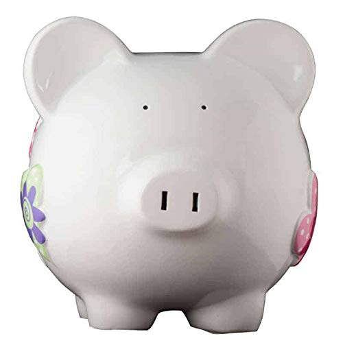 White Heart Girl Piggy Bank - Large - (Personalized & Custom With Name And Year) (First Financial Toy For Teaching Boys & Girls About Saving Money) (Perfect Unique Gift Idea For Babys 1st Birthday)