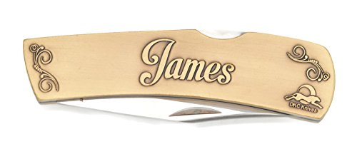 Brass Antique Custom Blade (DKC-1000-B JAMES Personalized Name Knife Custom Hand Engraved Minted In Antique Brass 4.5 oz 6.75