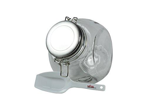 Viva-Haushaltswaren - Vorratsdose Glasdose Bonbonglas 2,25 Liter mit Bügelverschluss und Edelstahldeckel - inkl. einer Einfüllschaufel