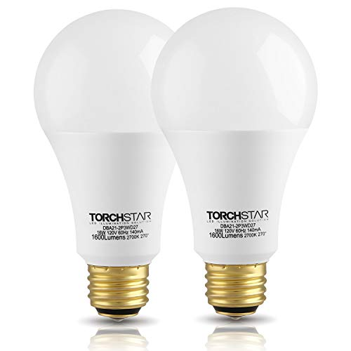 - TORCHSTAR 3-Way 40/60/100W Equivalent LED A21 Light Bulb, Energy Star + UL-Listed, 2700K Soft White, E26 Medium Screw Base, for Table Lamp, Bedside Lamp, Pack of 2