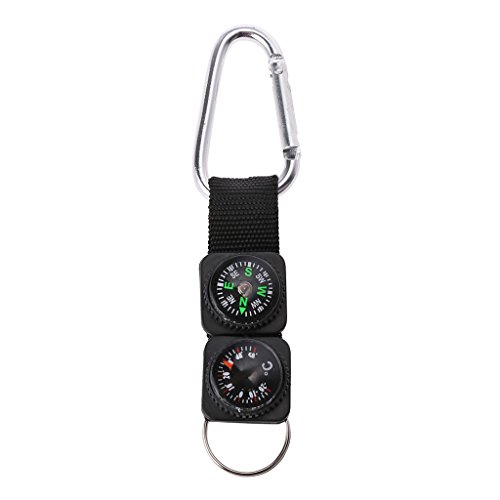 Forgun Outdoor Sport Keychain Carabiner-Travel Hiking Compass Thermometer Survival Tool