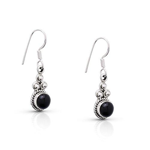 Black Onyx Delicate Hook Dangle Earrings Sterling Silver 925 Gipsy Boho Chic Ethnic Vintage Look