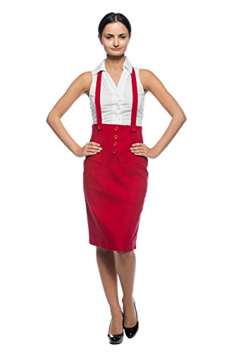 Women's Plus Cherry Red Vintage Rockabilly Suspender Halter Strap Pencil Skirt (XL)