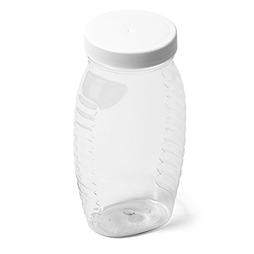 Clear Wide Mouth Oval PET Honey Jar - 1 lb - White Flat Cap - Case of -