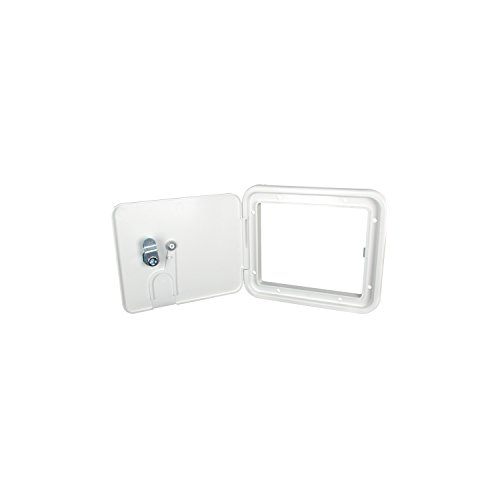 (JR Products S7132-A Polar White Medium 30/50 Amp Key Lock Electric Cable Hatch)