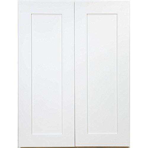[해외]일상적인 캐비닛 27 인치 2 도어 벽 캐비닛, 부드러운 흰색 셰..