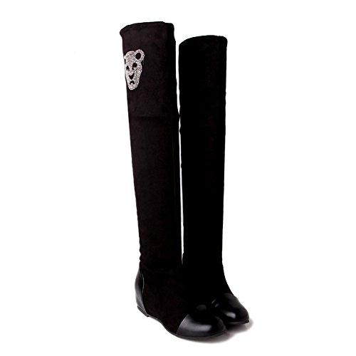 AdeeSu Ladies Color Matching Thick Bottom Heel Glass Diamond Heighten Inside Frosted Boots Black 0ke6AQkzt