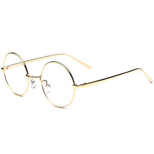 D.King Oversized Vintage Round Retro Large Metal Frame Clear Lens Eyeglasses Gold