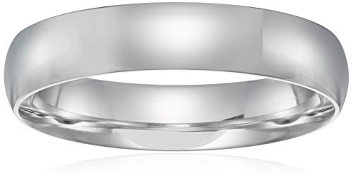 ow Dome, White, Comfort Fit Plain Wedding Band, White, Size 12.5 ()