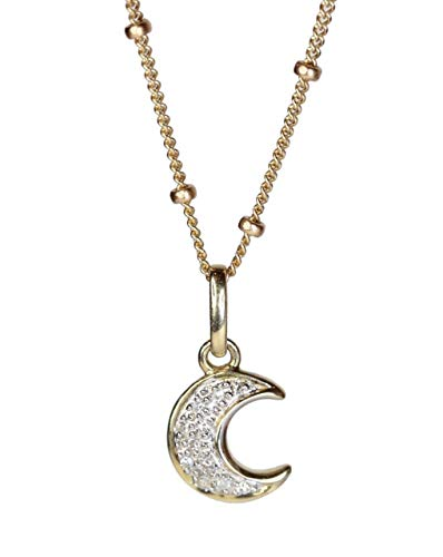 White Diamond Moon Pendant Necklace Real 14k Gold Jewelry Gift - 16