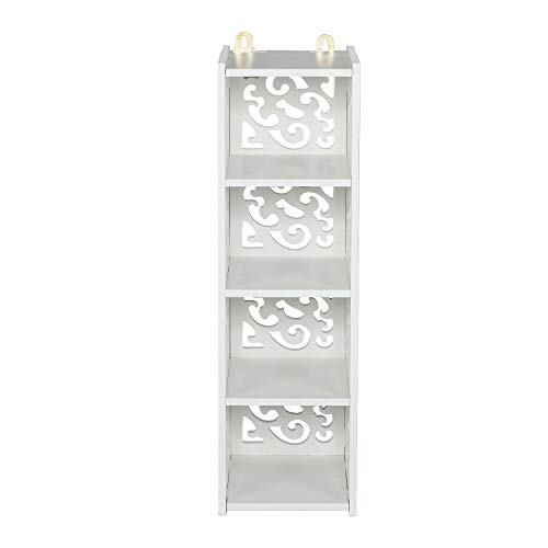 - Hardsea Wood Plastic Board Four Lattices Carved Overhead Storage Rack White