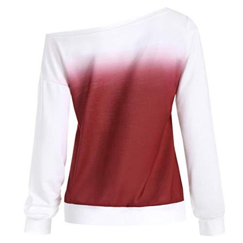 Femmes Longue Sweat Slash Rouge Chemisier Shirt Imprimé DéContractée BaZhaHei L'Automne Manche Cou Pullover Shirt T raAW4qrUw