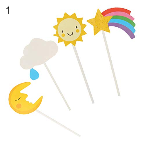Cake Topper,iWEingHo&21 1Set Sun Moon Star Rainbow Hot Air Balloon Plane Cupcake Cake Topper Party Decor - 1 ()