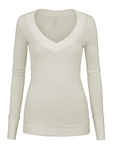 Womens Junior Ivory Colors Slim Fit Long Sleeve Sweater V_Neck Top with Band Neckline (8179_Ivory_S)