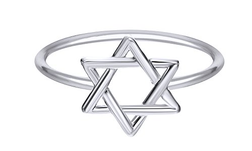 Mothers Day Jewelry Gifts Hanukkah Holy Day Sale Star of David Jewish Magen Hebrew Shield 14k White Gold Over Sterling Silver Star Symbol Ring