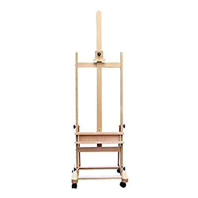 LXLA Solid Wood Large Easel Floor-standing Painting Display Stand With Universal Wheel Oil Painting Frame For Outdoor Sketching