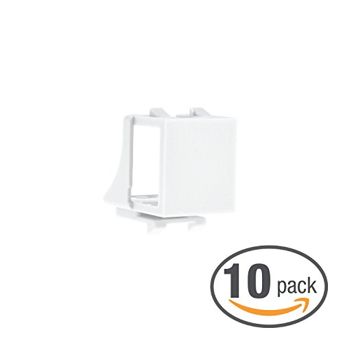 (Mediabridge Blank Keystone Jack (White) - Blank Insert for Keystone Wall Plate - 10 Pack (Part# 51J-00-WH-10PK ))