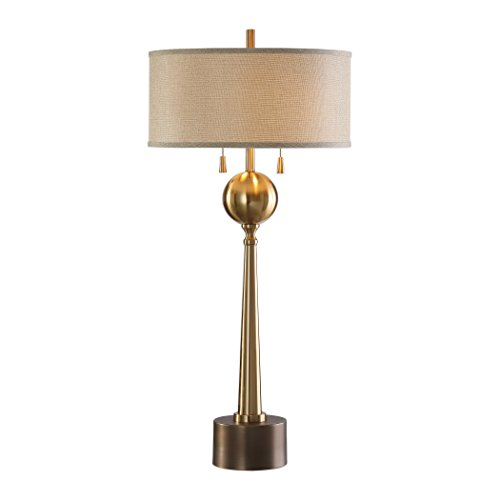 Gold Sphere Tapered Column Table Lamp | Bronze Metal Mid Century Modern ()