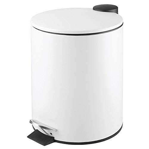 mDesign 5 Liter Round Small Metal Step Trash Can Wastebasket, Garbage Container Bin - for Bathroom, Powder Room, Bedroom, Kitchen, Craft Room, Office - Removable Liner Bucket - White