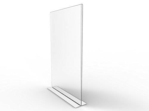 "FixtureDisplays 3PK 11 x 17"" Clear Acrylic Sign Holder for Tabletops, Vertical Table Tent Frame Photo Sign Menu, Bottom Insert 11193-2-11X17-3PK"