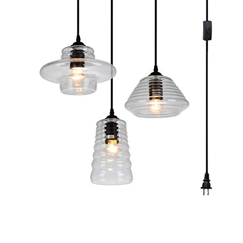 HMVPL 3-Lights Vintage Glass Pendant Light Fixture with 16 Ft Plug-in Cord and in-line on/Off Toggle Switch, Classic Rustic Chandelier Hanging Ceiling Lamp for Living Room Kitchen Island Table