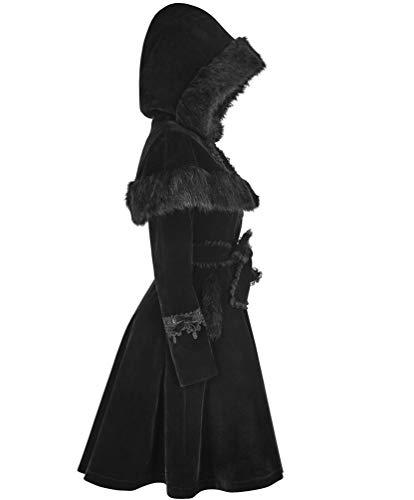 Punk Rave Black Gothic Halloween Sweet Lolita Vintage Gorgeous Faux Fur Wool Winter Coats for Women (L)