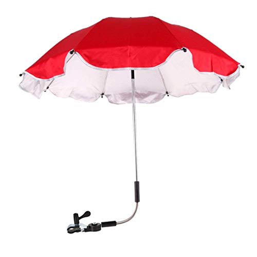 Xindda Wheelchair Pushchair Baby Stroller Umbrella, Baby Stroller Rain Cover Parasol, Sun Canopy Rain Protection UV Rays Umbrella with Adjustable Clip-On Stand Holder (Red) by Xindda Creative Tools
