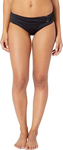 Michael Michael Kors Women's Iconic Solids Logo Ring Bikini Bottoms Black X-Large - Michael Kors Zappos