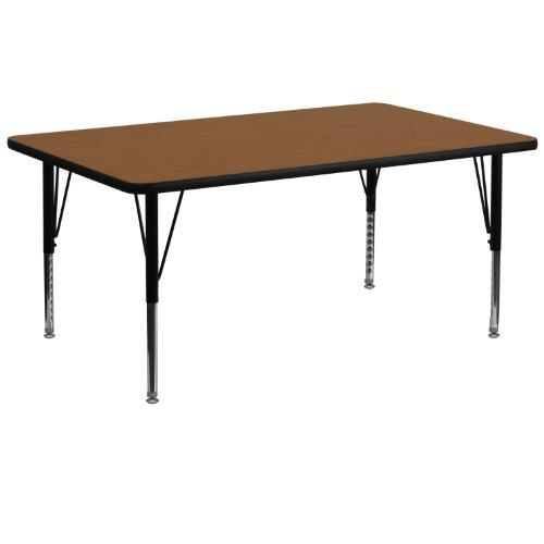 Flash Furniture 30''W x 72''L Rectangular Oak HP Laminate Activity Table - Height Adjustable Short ()