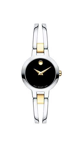 - Movado Amorosa, Stainless Steel & Yellow PVD Case, Black Dial, Stainless Steel & Yellow PVD Bangle, Women, 0607184