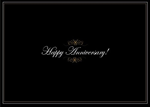 Anniversary Greeting Cards - A1401. Business Greeting Card Featuring an Image of Happy Anniversary with Gold Designs on a Black Background. Box Set Has 25 Greeting Cards and 26 Bright White Envelopes.