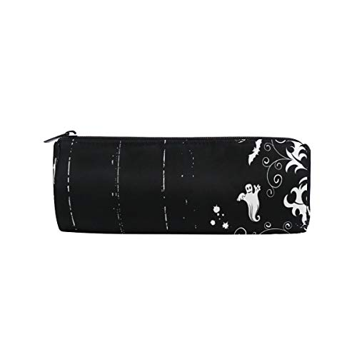 Halloween Bats Ghost Pumpkin Pencil Case Large Capacity Round Pen Bag Makeup with Compartments]()