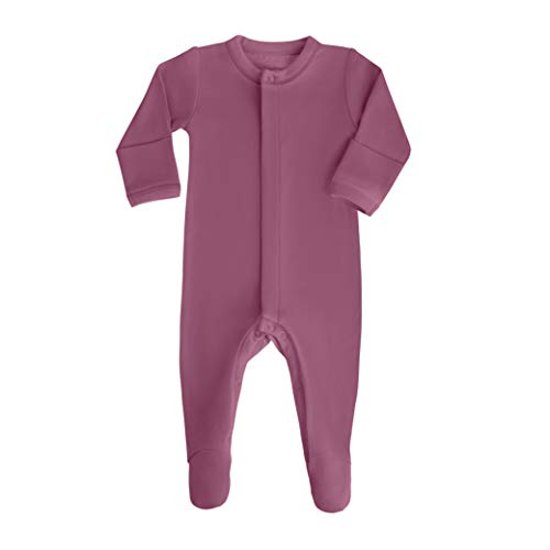bonamy Baby Unisex Organic Cotton Footie Sleeper with Mittens-Clothes for Girls with Long Sleeves in Magenta