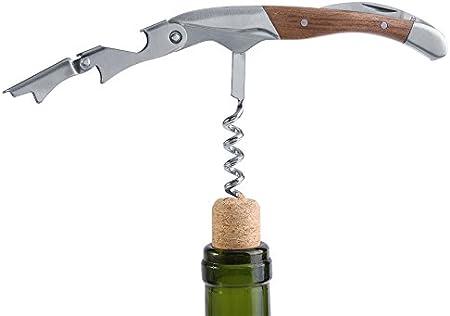 Sacacorchos de botella de acero inoxidable, abrebotellas de vino de madera, abrebotellas Manual para Bar, restaurante, fiesta, picnic