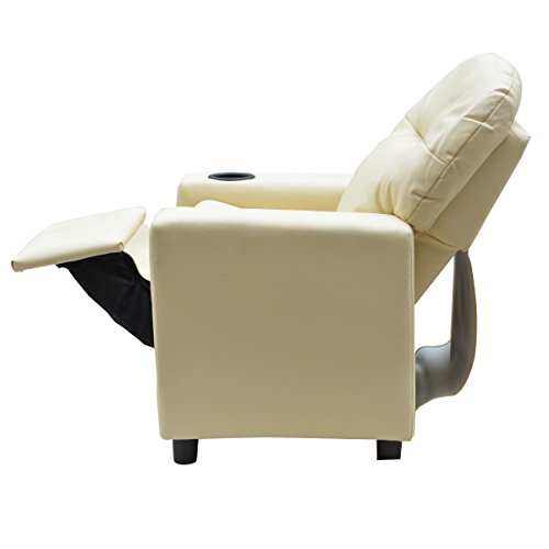Costzon Contemporary Kids Recliner, PU Leather Lounge Furniture for Boys & Girls W/Cup Holder, Children Sofa Chair (Beige) by Costzon (Image #9)