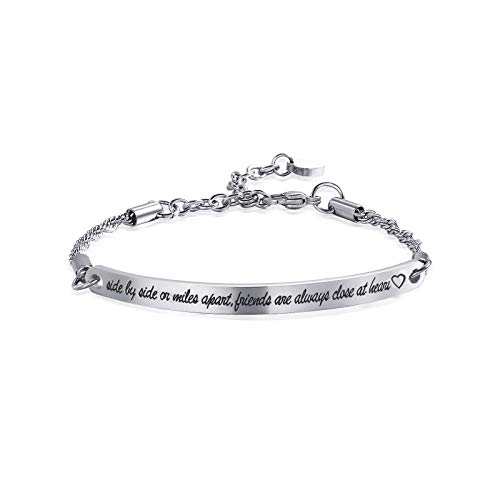 - ivyAnan Jewellery Friendship Gift Side By Side or Miles apart Friends are Always Close at Heart Bracelet for Friend Sister Women Girls(Silver-Side by side or miles apart.)