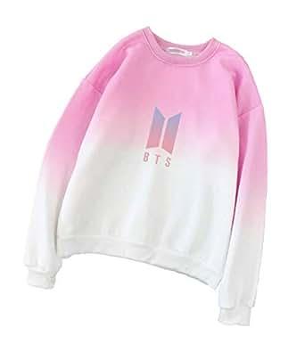 Pink & White Round Neck Sweatshirts For Women