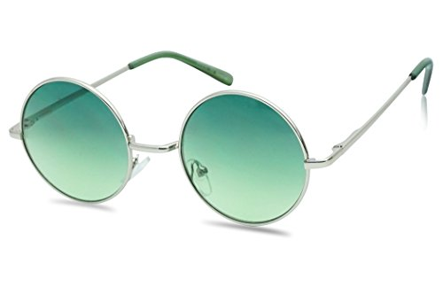 Hippie Green (Sunglass Stop - Green Oceanic Hipster Harry Potter Elton Lennon Style Sunglasses (Silver , Green ))