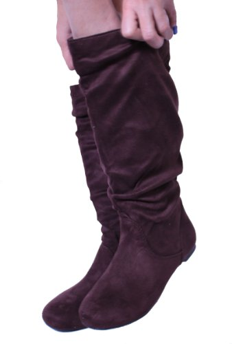 Suede Material Brown Knee Boots High Women's 048 Fashion OwqIBSFWx8