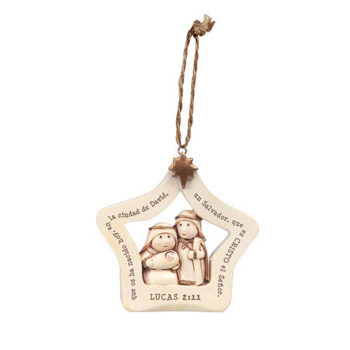 (Lighthouse Christian Products La Sagrada Familia Winter White 3 x 3 Resin Stone Christmas Hanging Ornament)