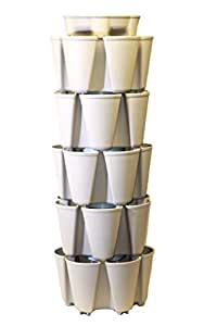 STONE GreenStalk Large 5 Tier Vertical Garden Planter with Patented Internal Watering System Great for Growing a Variety of Strawberries, Vegetables, Herbs, & Flowers on a Balcony or Deck