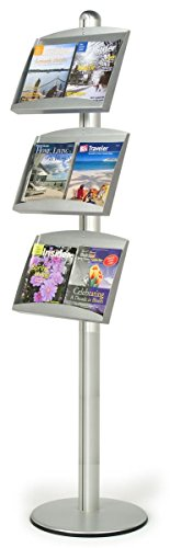 Silver Brushed Aluminum Brochure Stand With 3 Steel Pockets That Accommodate Various Size Literature, 18-1/4 x 73 x 18-Inch, Free-standing, Height Adjustable, Slant-back Pockets
