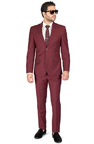 Slim Fit Men Suit Burgundy Wine 2 Button Notch Lapel AZAR 8028-58 (38 Regular 32 Waist 32 Length, Burgundy No Vest 2 Piece) ()