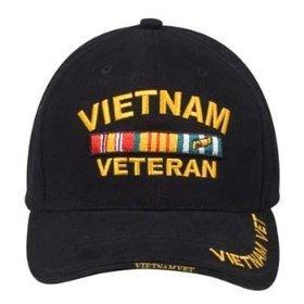 Military Caps Vietnam Veteran Logo Baseball Cap, Black, Adjustable
